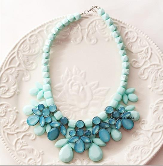 Korea Sweet Candy Gem Droplets Necklace BLUE