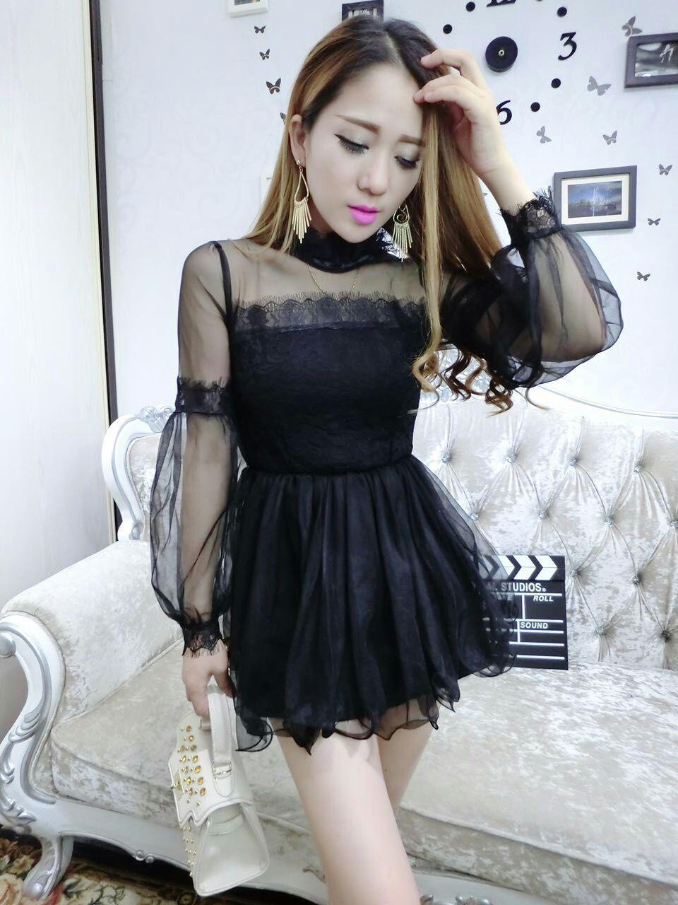 Korea Sweet Princess Ladies Dress in Black