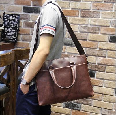 Korean business casual men crazy horse leather messenger briefcase