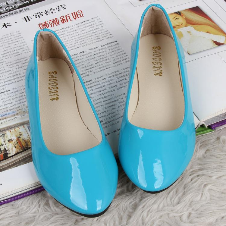 Korean~Candy Color Flat Base Patent Leather Shoes (Light Blue)