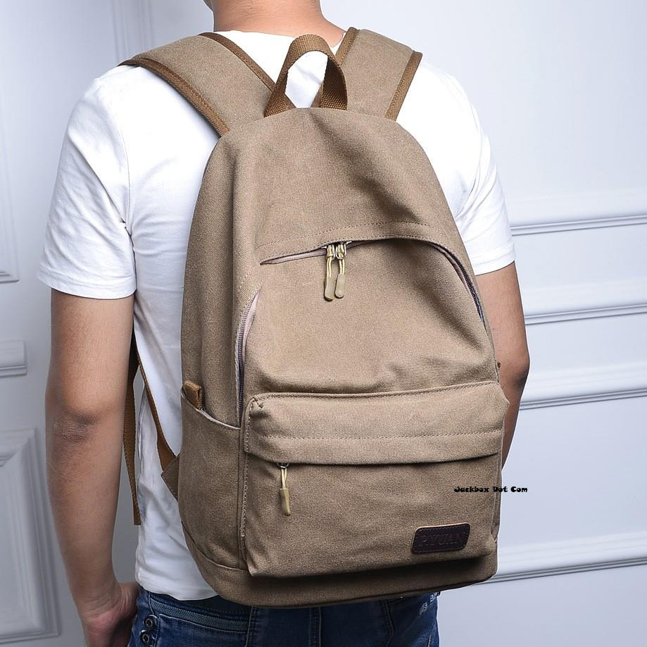 Korean Classic Simple Canvas Ipad Laptop Bag Backpack 521