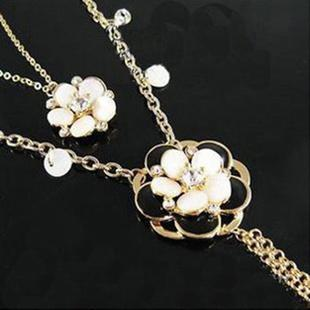 Korean~Diamond Black White Shell Long Type Necklace