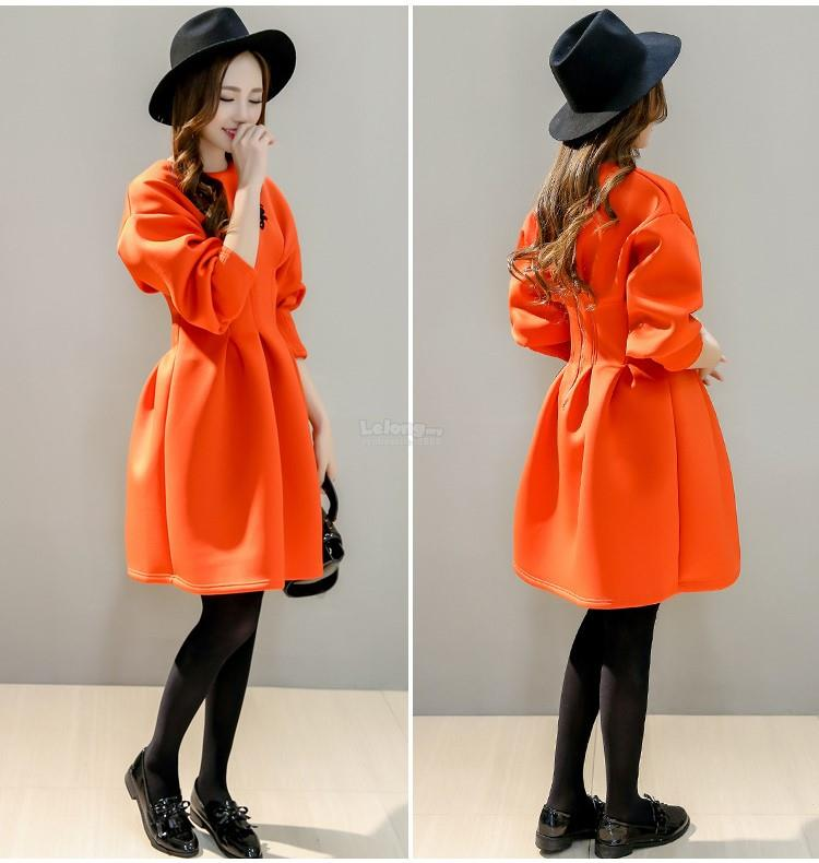 Korean Fashion Casual Space Cotton Half Sleeve O Neck One Piece Dress