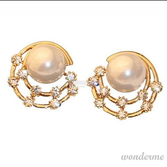 Korean Fashion Crystal Rhinestone Faux Pearl Ear Stud Earrings