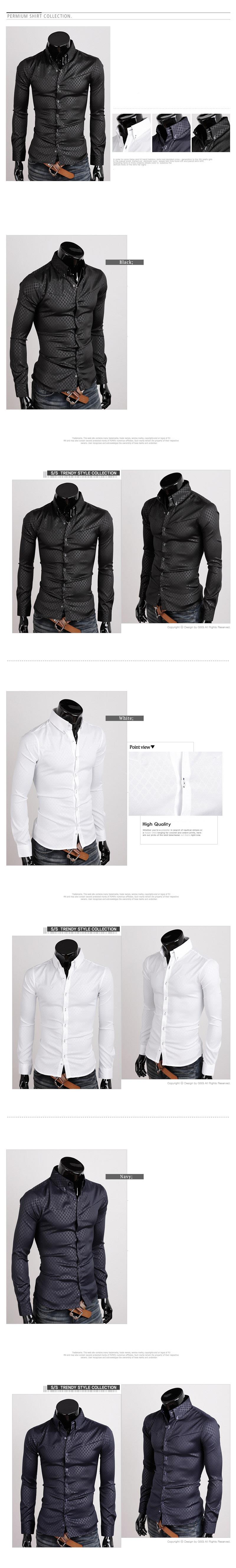 Korean Fashion Men's Slim Fit Casual Long-sleeved Obscure Quilted Shir