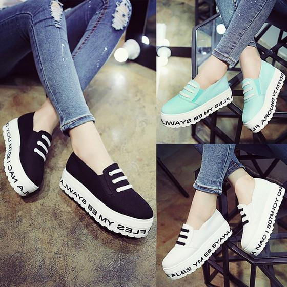Korean Fashion Thick-Bottomed Alphabetical Muffin Bottom Canvas Shoes