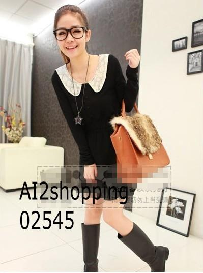 Korean lace collar sweet was thin long-sleeved dresses02545