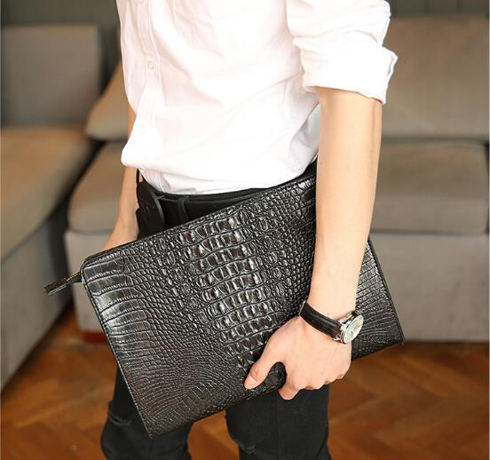 New Korean men and women crocodile pattern clutch bag