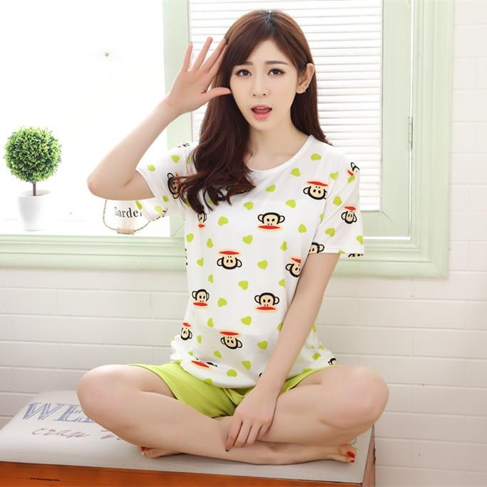 Korean Milk Silk Short Sleeve Sleepwear Set (Apple Green)