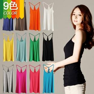 Korean~Show Slim Cotton Y Singlet