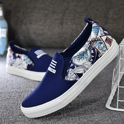 Korean Style Breathable Graffiti Loafer Sneakers Navy