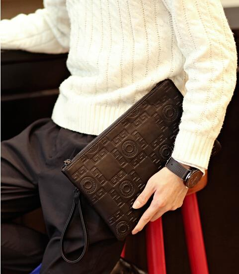 Korean version fashion trend of men's embossed clutch bag