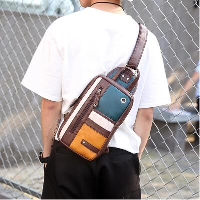 Korean version of the mosaic tide male fashion casual chest bag