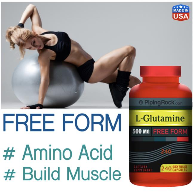 L-Glutamine 500mg, 240 Caps, Muscle Growth (Amino, Whey, Protein) USA