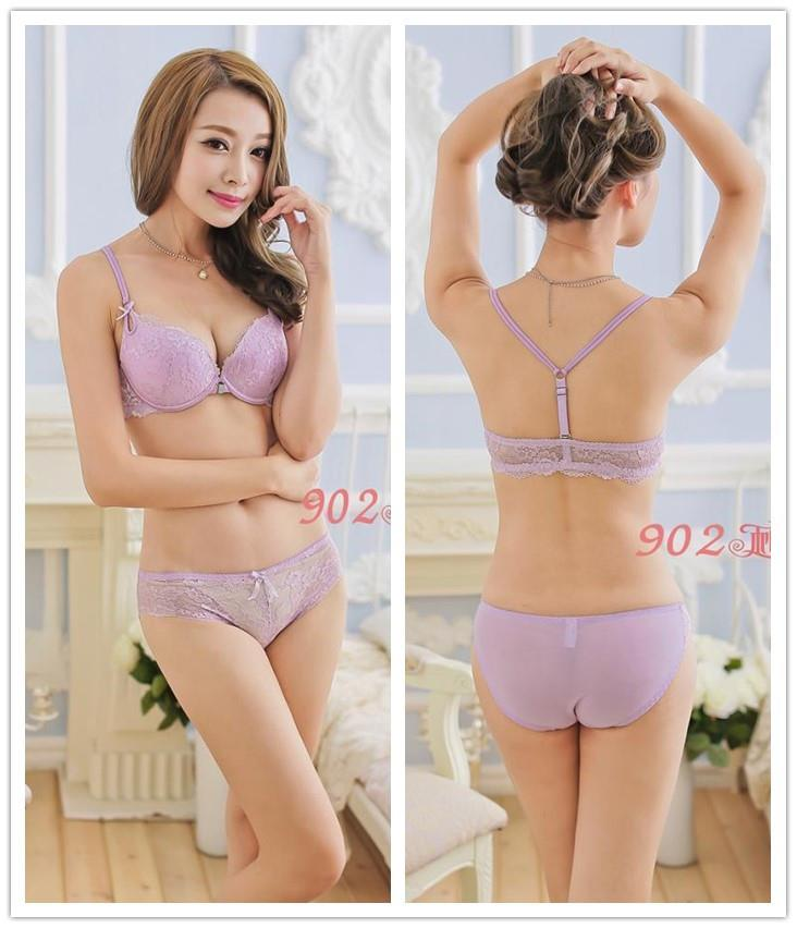 Lace Beauty Back Y-shape Push-Up Bra Set (Light Purple)