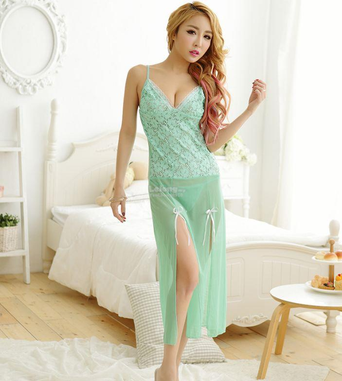 Lace Polyester Transparent Long Lingerie Gstring Green YE511