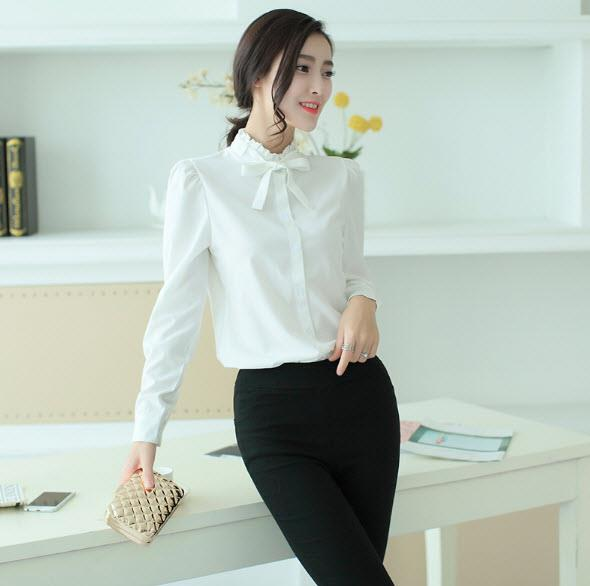 Ladies Long-sleeve Shirt Bow Tie Collar Blouse Office Wear Design