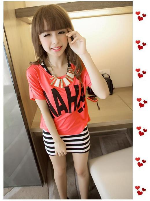Lady Fashion Slim Striped Long Dress With Red Tee