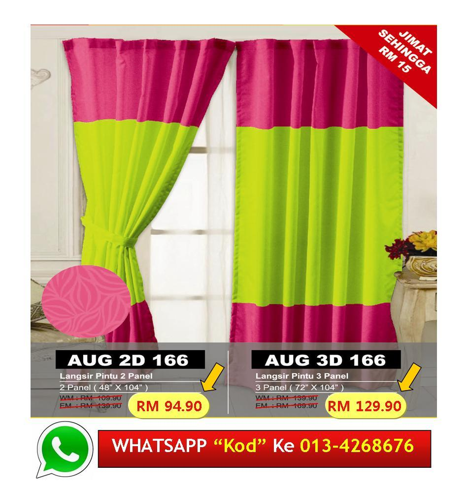 Langsir Pintu Sliding Door Siap Jahit kod D166 GREEN Curtain