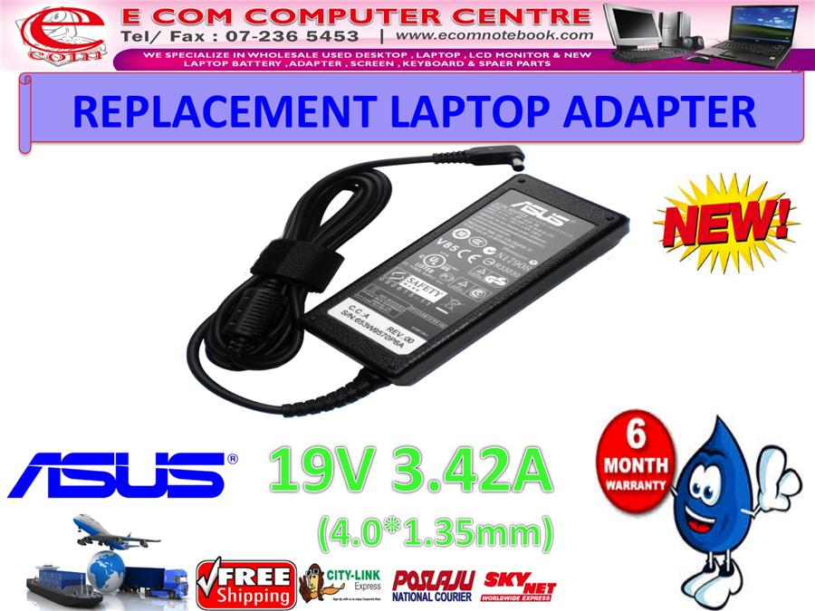 LAPTOP ADAPTER FOR ASUS SERIES 19V 3.42A (4.0MM*1.35MM)