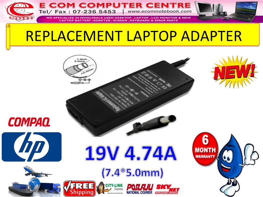 LAPTOP ADAPTER FOR HP/COMPAQ SERIES 19V 4.74A (7.4MM*5.0MM)