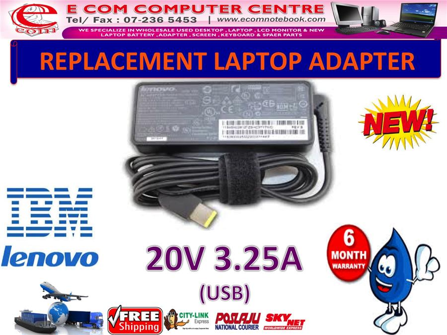 LAPTOP ADAPTER FOR LENOVO/IBM SERIES 20V 3.25A (USB)