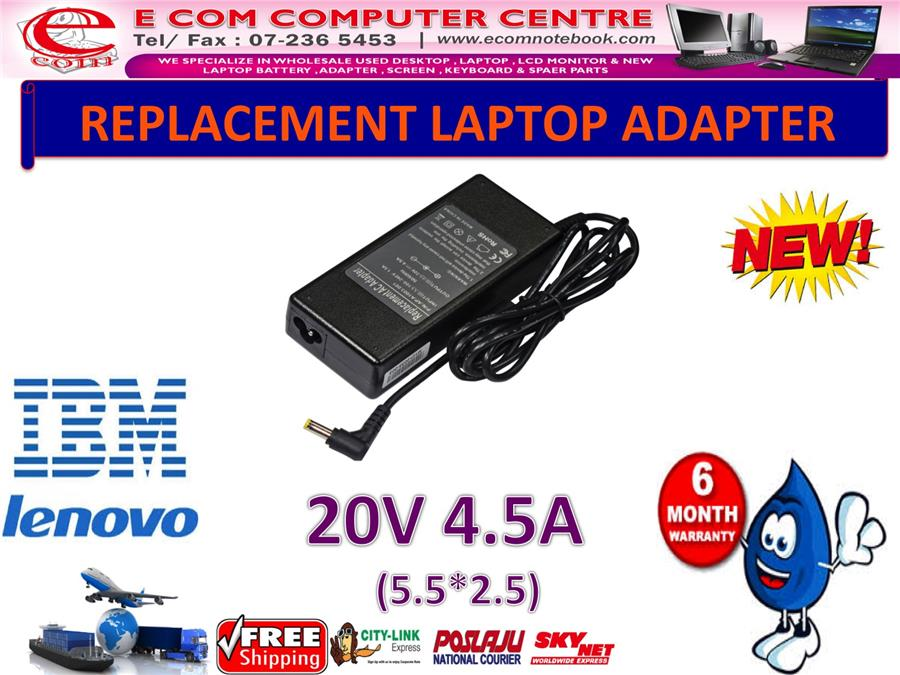 LAPTOP ADAPTER FOR LENOVO/IBM SERIES 20V 4.5A (5.5MM*2.5MM)