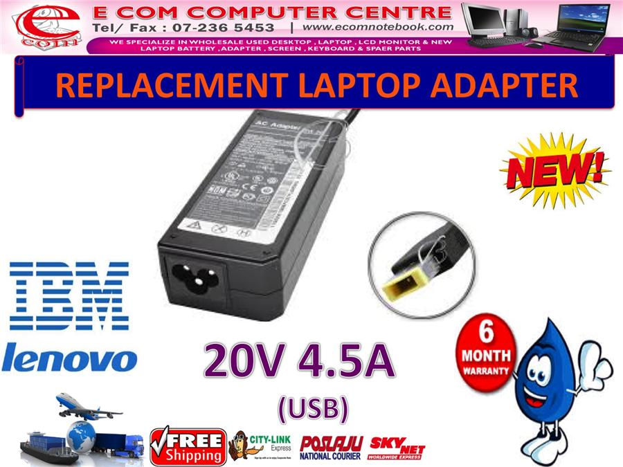 LAPTOP ADAPTER FOR LENOVO/IBM SERIES 20V 4.5A (USB)