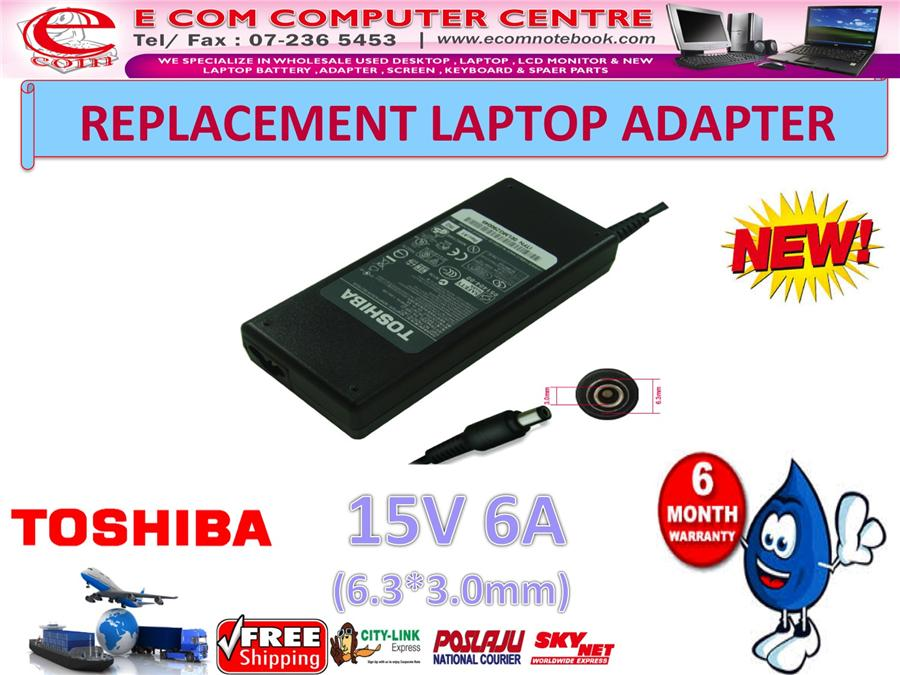 LAPTOP ADAPTER FOR TOSHIBA SERIES 15V 6A (6.3MM*3.0MM)
