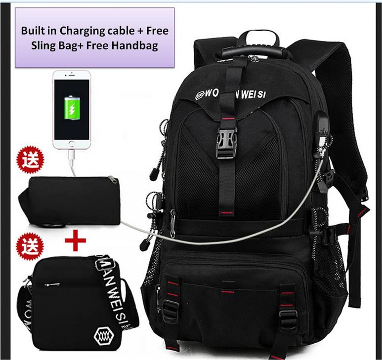 Laptop backpack bag set A1/with USB Charging Cable/Ready Stock