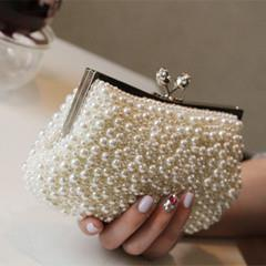 LATEST-KOREAN FASHION DIAMOND PEARL WEDDING BANQUET CLUTCH EVENING BAG
