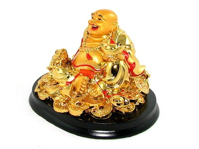 Laughing Buddha with Money Frog/Toad for Happiness & Wealth Luck