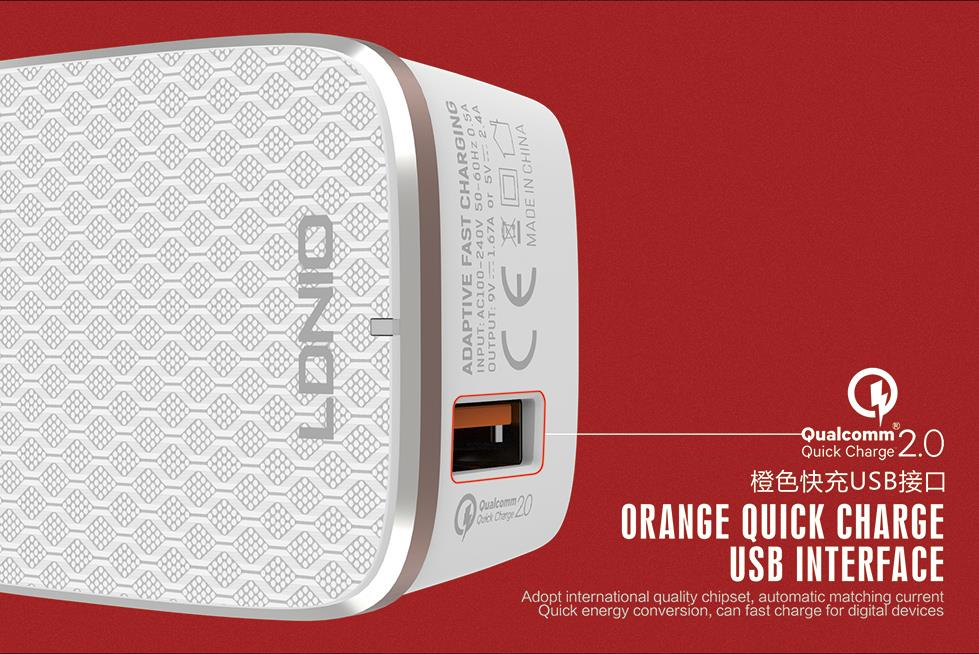LDNIO A1204Q 2.4A 2 Qual Comm Quick Cable 2.0 Fast Charging