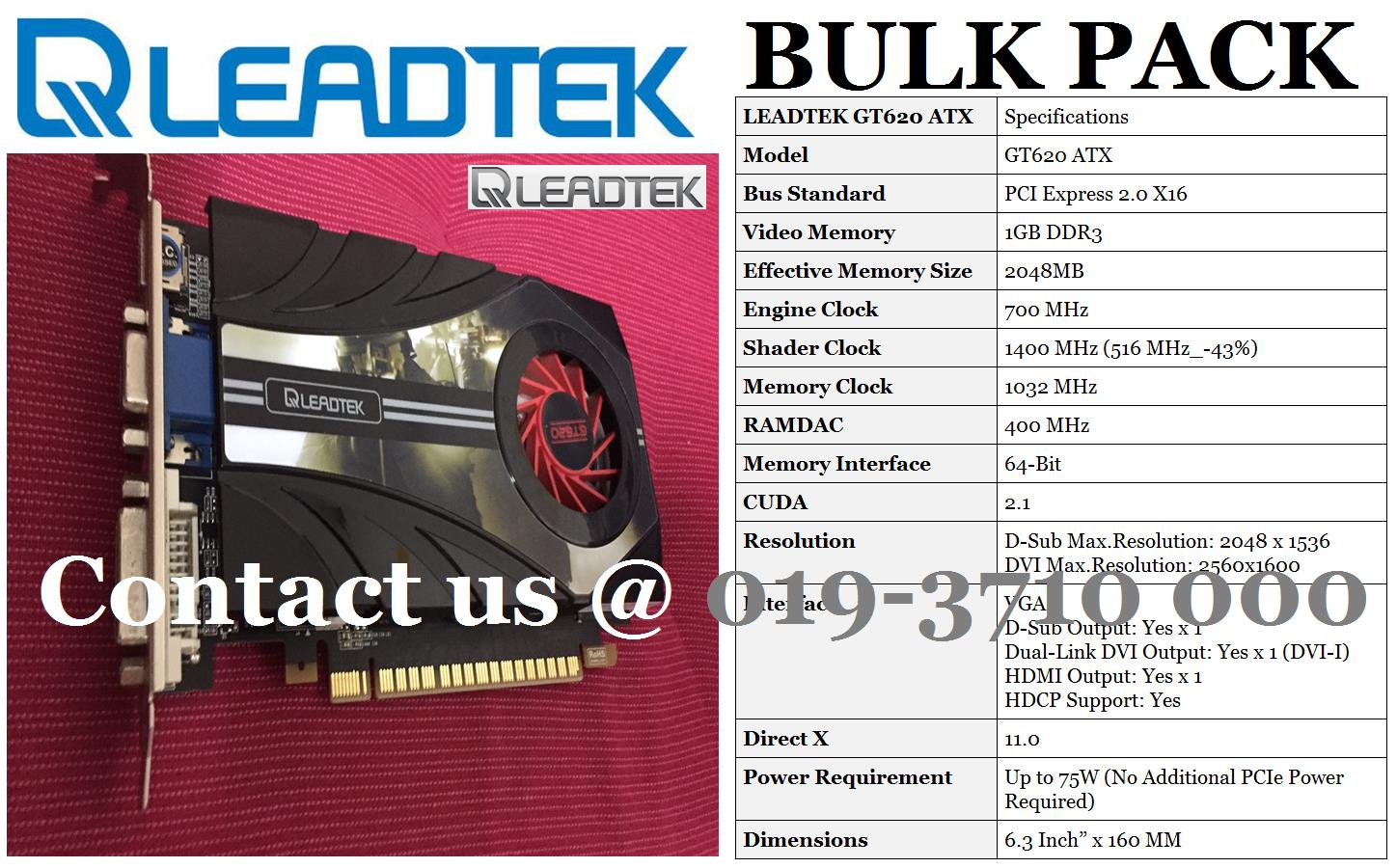 Leadtek Winfast NVIDIA GEFORCE GT620 ATX 2GB/64Bit PCIE Graphics Card