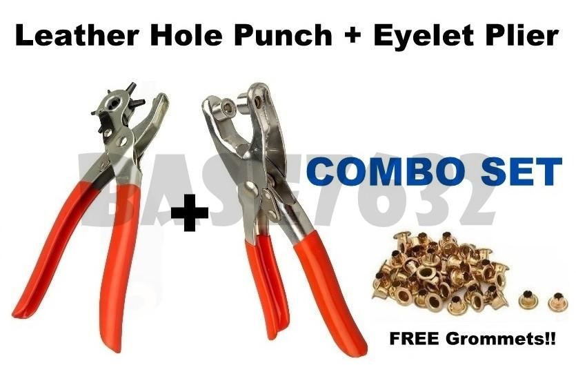 Leather Hole Punch +  Grommet Eyelet Punch Plier + Grommets