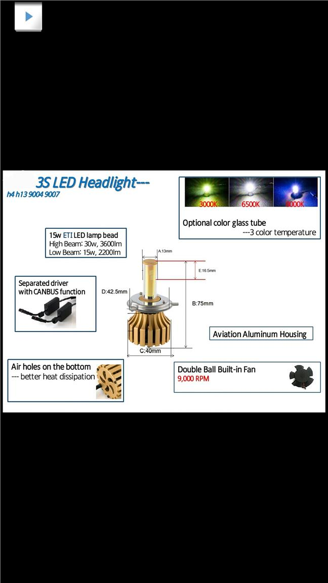 LED Headlight  With Fan New Arrived H4-Hi/Lo , H8, H11, H7, HB4, 9012