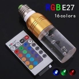LED LAMP BULB RGB COVER REMOTE CONTROL 3W