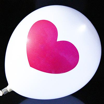 LED Light Up Balloon Heart Shape Print On White Balloons 12 inch 2.8g