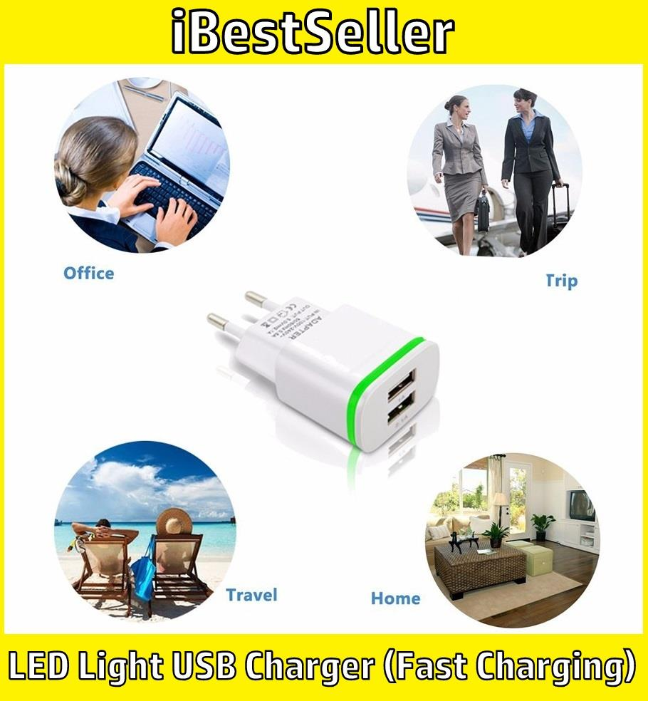 LED Light USB Charger 5V 2A 2 Ports Fast Charging Power Adapter