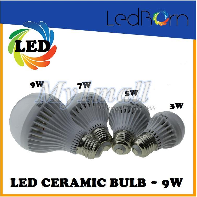 LedBorn LED Bulb Ceramic Body 9W E27 Daylight (White)