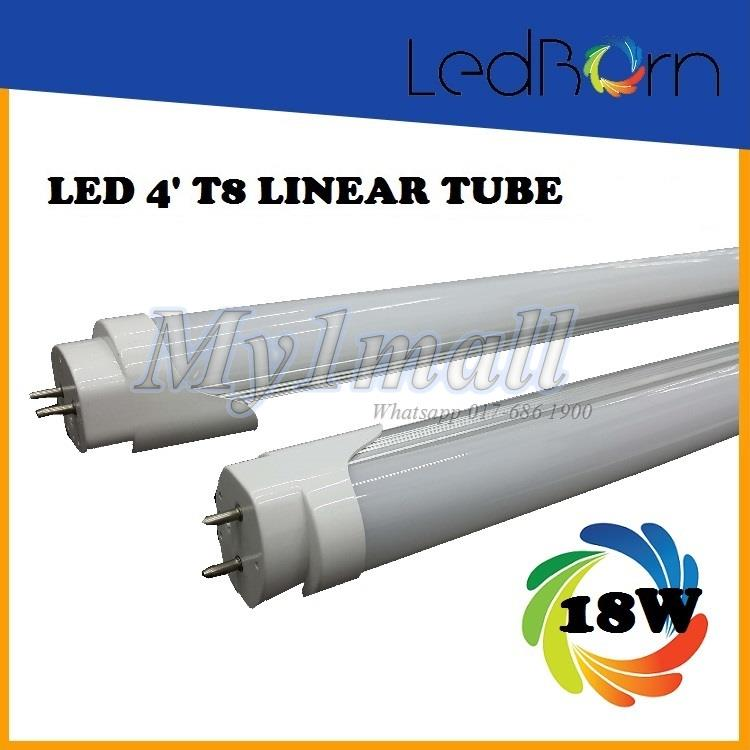 LedBorn LED T8 Tube 4feet 18W - Daylight (White) x 4lgths