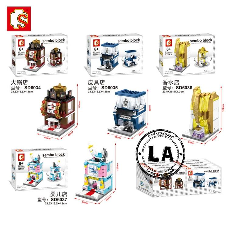 Lego Compatible Sembo SD6034-SD6037 mini street city building blocks