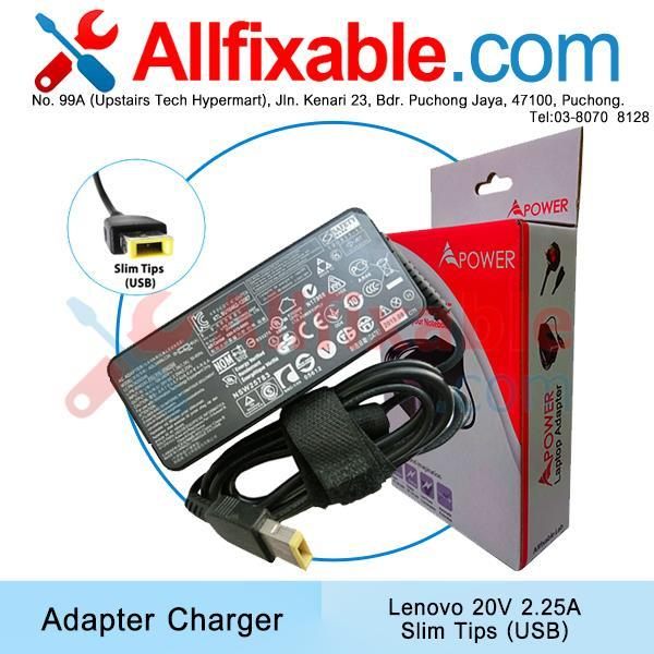 Lenovo 20V 2.25A Slim Tips USB IdeaPad Yoga 2 Pro Adapter Charger
