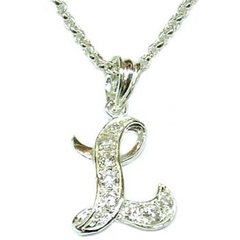 letter l cz sterling silver necklace p6930ls