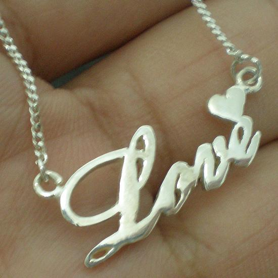 Letter LOVE Sterling Silver Necklace Pendant - Craft Handmade