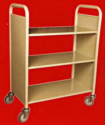 Library Book Trolley 3Flat Shelves Steel FOC Delivery 0 GST KLV Ground