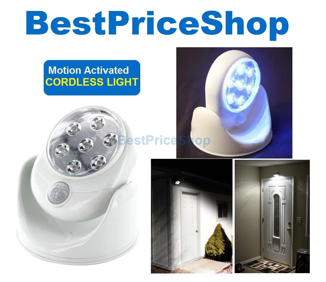 Light Motion Activated Sensor Indoor Outdoor Cordless 7 LED Light Lamp