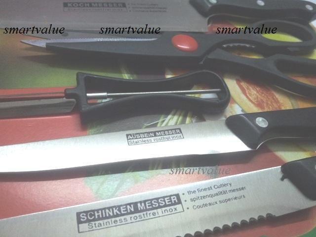 New Lightweight for Picnic & Kitchen 6 Piece German Style Knife Set