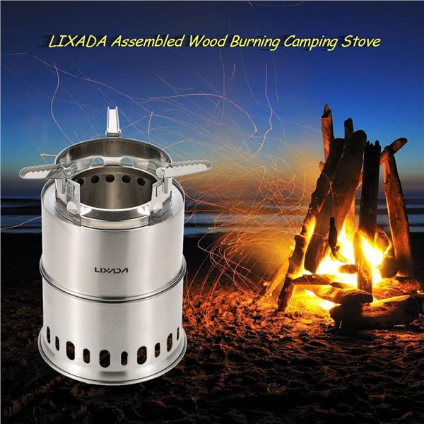 LIXADA Potable Stainless Steel Wood Burning Camping Stove