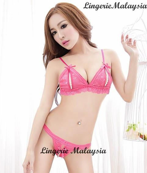 LM2201 Pink Sexy Bra Set Nightwear Sleepwear